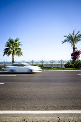 blured moving car drives an empty road palm tree on background