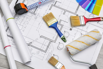 Set with decorator tools and items on house plan