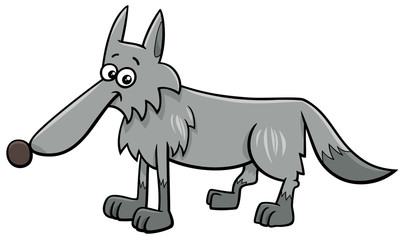 gray wolf animal character cartoon illustration