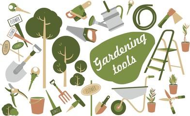 garden tools icons