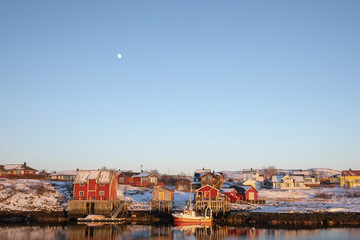 Residential area at the Salhus Strait and moon