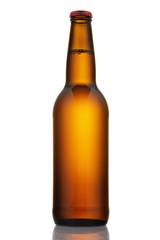 Bottle of light beer isolated on white background