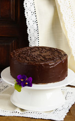 """cake with souffle """"Bird's milk"""", biscuit, mousse and dark chocolate"""