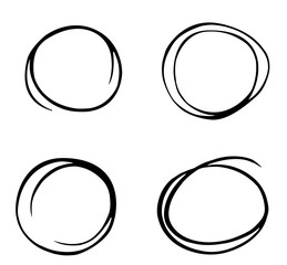 Hand drawn circle sketch set doodle. Pencil line vector.Hand drawn circle line sketch set. Vector circular scribble doodle round circles for message note mark design element. Pencil or pen graffiti