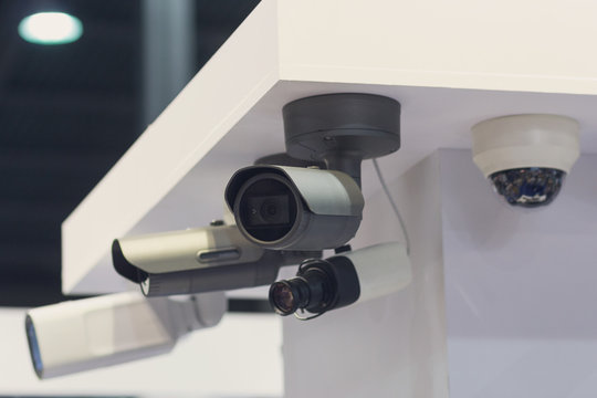 CCTV security camera at the exhibition stand. Industry
