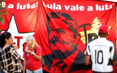 Supporters of former Brazilian President Luiz Inacio Lula da Silva are seen in a camp near the Federal Police headquarters, where Lula is imprisoned, in Curitiba
