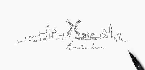 Pen line silhouette amsterdam