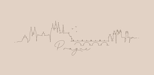 Pen line silhouette prague beige