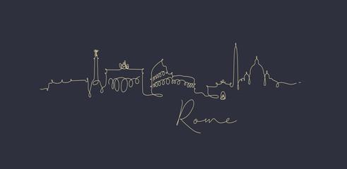 Pen line silhouette rome dark blue Wall mural