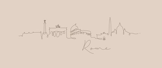 Pen line silhouette rome beige Wall mural