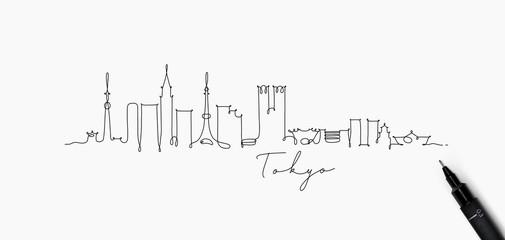Pen line silhouette tokyo