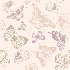 Seamless pattern. Delicate pastel pattern with butterflies. Printing with in hand drawn style. Background for textile, manufacturing, book covers, wallpapers, print or gift wrap.