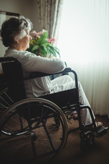 Senior woman sitting in a wheelchair