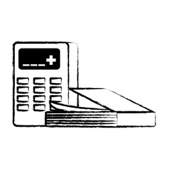 sketch of book and calculator icon over white background, vector illustration