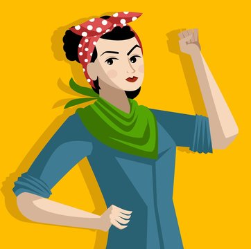 feminist with green scarf