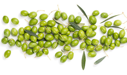 Wall Mural - Organic olive fruit, above view.