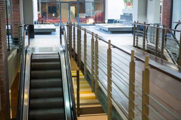 High view shot of an escalator