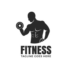 Fitness man with dumbbells logo design isolated on white background