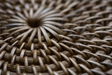 Partially in focus rattan wicker background