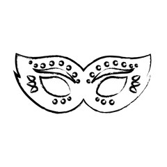 sketch of carnival mask icon over white background, vector illustration