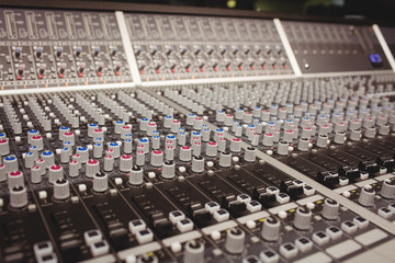 Close-up of a sound mixer