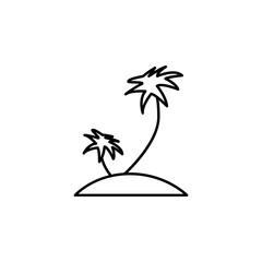 palms on the island icon. Element of simple icon for websites, web design, mobile app, info graphics. Thin line icon for website design and development, app development
