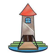 castle tower with drawbridge over white background, colorful design. vector illustration