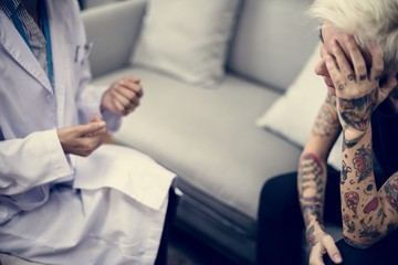 Depressed woman having a counseling session