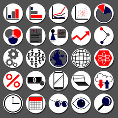 Set of icon symbols relating to data analytics, charts, graphs, marketing, research, and information gathering
