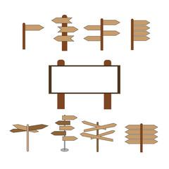 Direction pointer symbol, logo illustration.vector set of cartoon direction post