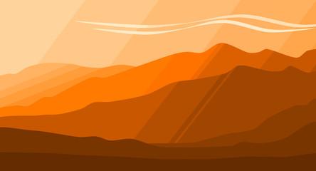 Mountain Range Background. Orange Gradient Illustration.
