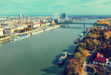 Aerial view of Bratislava with Danube