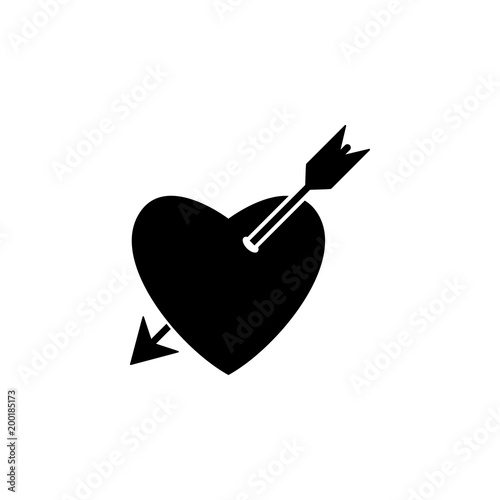 Pierced Heart With An Arrow Icon Element Of Simple Icon For
