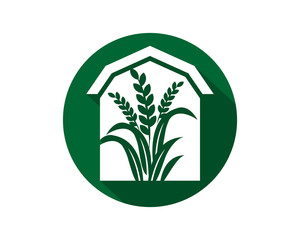 barn house paddy harvest agriculture image vector icon logo symbol