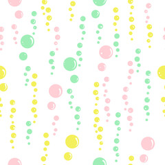 Vector simple seamless pattern. Color bubbles in the water. Simp
