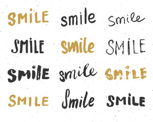 Smile letterings handwritten signs set, Hand drawn grunge calligraphic text. Vector illustration