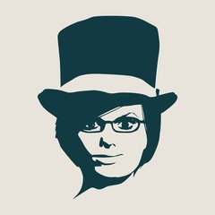 Face front view. Elegant silhouette of a woman wearing top hat and spectacles
