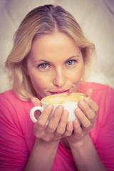Pretty blonde having coffee
