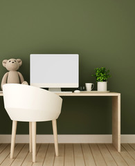 Study room or workplace and green wall decorate in bedroom - Study area of  kid room in home or apartment - 3D Rendering
