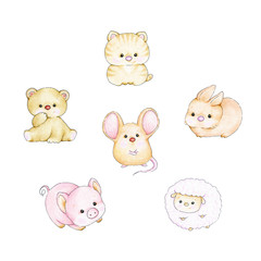 Set of baby animals - bear, mouse, pig, cat, lamb, bunny