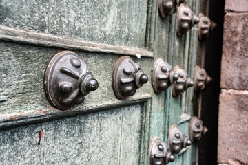 Details of the doors from the Cathedrals and churches of Cusco. Peru.