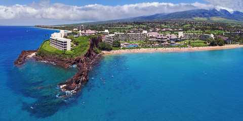 Kaanapali Beach - Black Rock - Aerial Panorama - Maui, Hawaii