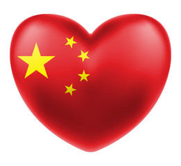 china flag on a love heart logo vector