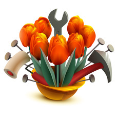 Building helmet with flowers and work tools