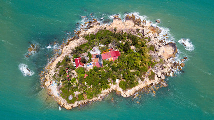 View from above on the single island near Nha Trang city,Vietnam
