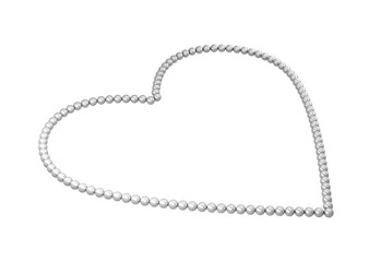 Pearl beads as heart isolated on white background, 3d illustration.