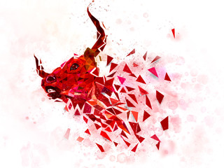 BULL low polygon Geometric water color effect