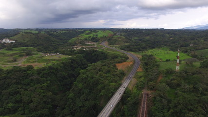 Beautiful aerial view of a bridge and off railroad in Costa Rica