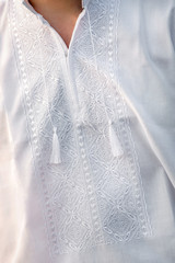 embroidered white shirt with a handmade pattern for men