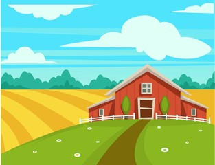 Papiers peints Turquoise Farm house or farmer household agriculture scenery vector cartoon design